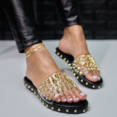 transparent gold spike slide - elah