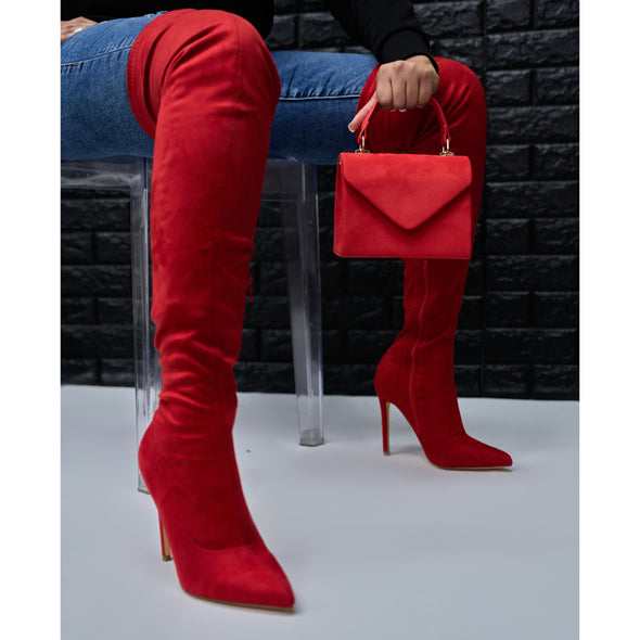 red suede thigh high - gisele