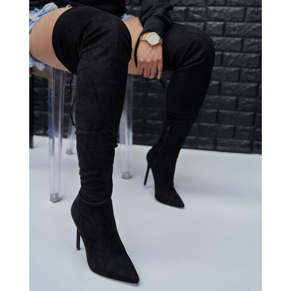 black suede thigh high - gisele