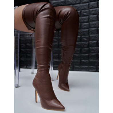 brown leather thigh high - gisele