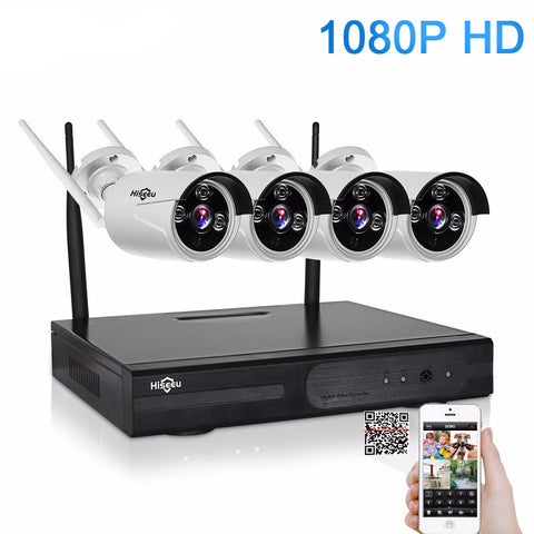 1080P 4CH Wireless NVR CCTV System w/ Wifi Connection Home Security
