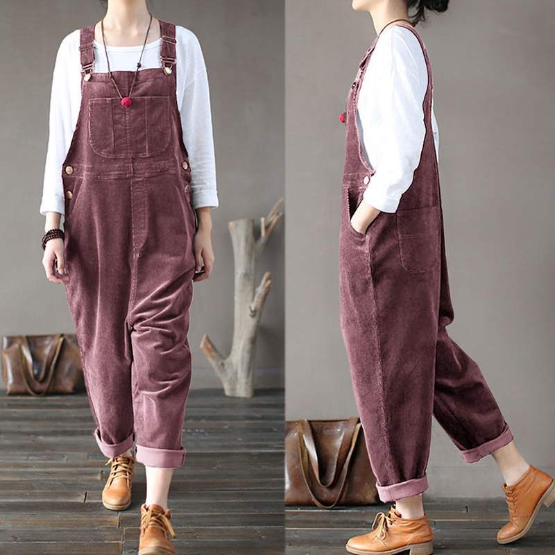 Women's Casual Style Multi-Pocket Corduroy Strappy Overall