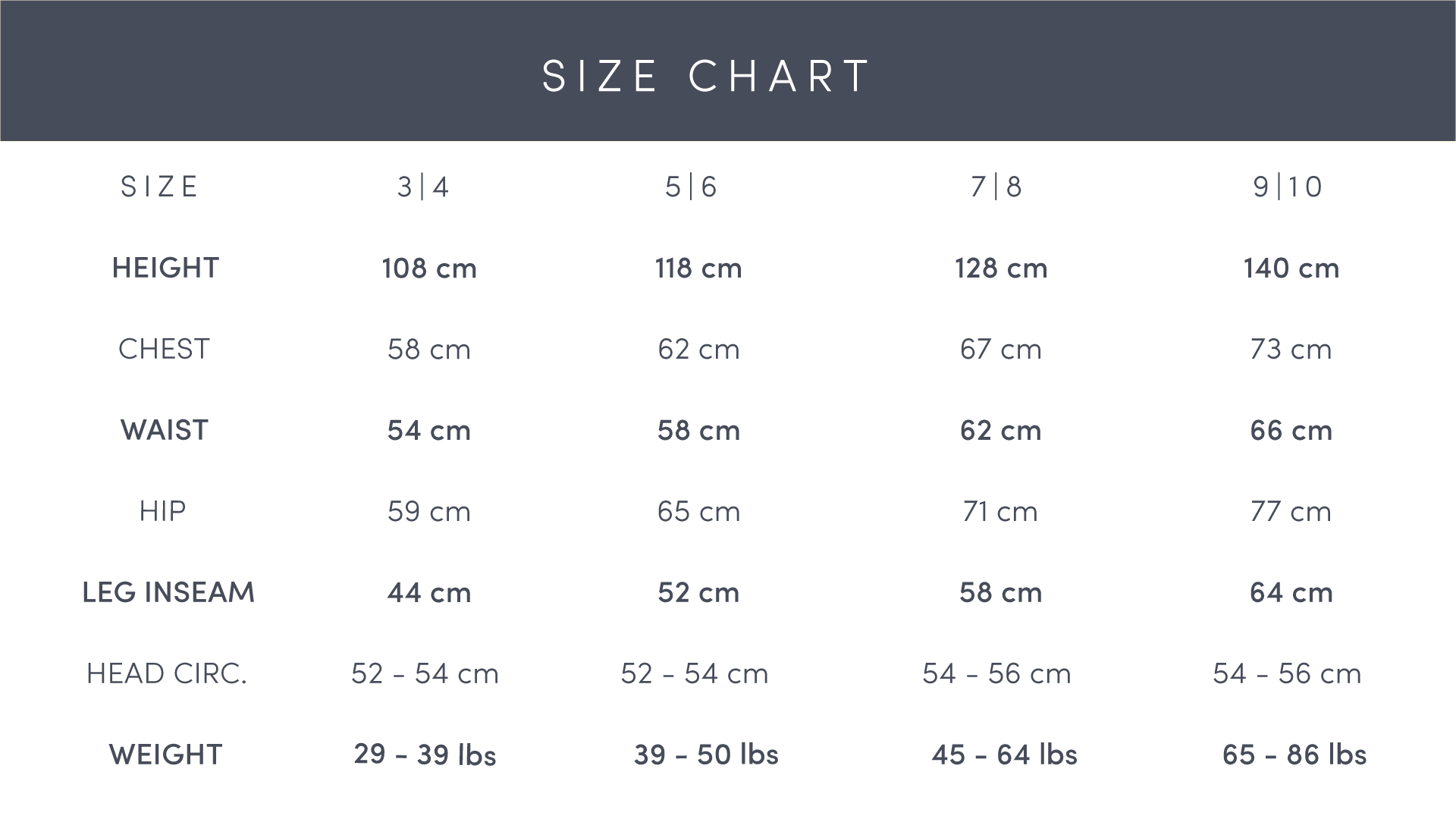Faire Child Sizing Chart