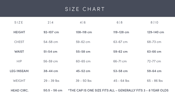 Explanation for the sizes of Faire Child garments, a children's outerwear brand made from sustainable materials.