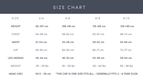 Explanation on how the Faire Child garments sizes run.