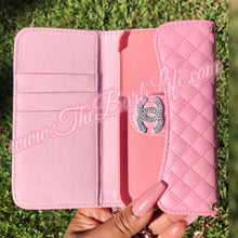 Load image into Gallery viewer, Deluxe Quilted Pink Wallet Phone Case
