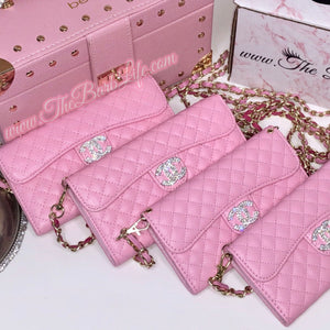 Deluxe Quilted Pink Wallet Phone Case