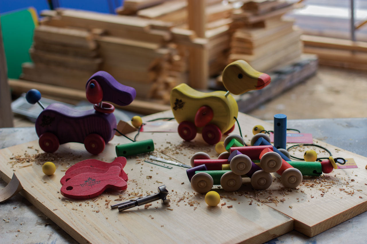 Pull dog and pull duck being built in the Toy Maker of Lunenburg worksop.