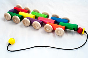 Wooden hand made pull toy