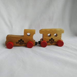 Wooden train and  individual letters