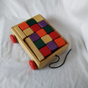 Pull along wagon with blocks