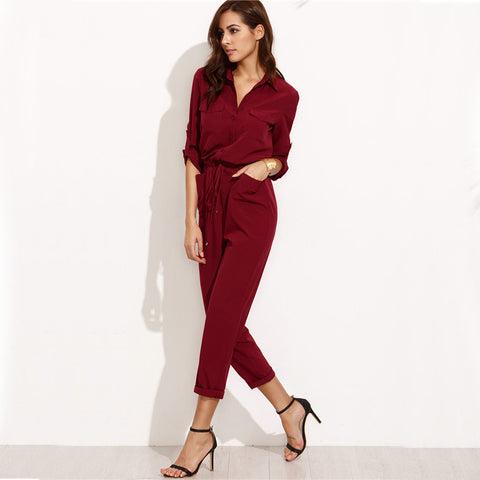 fcb842e224de Ladies Lapel Tie Waist Dual Pockets Rolled Sleeve Jumpsuit