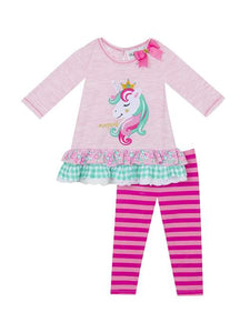 288507fa5 Pink Heather Unicorn Striped Legging Set by Rare Editions * 12 18 24 Months