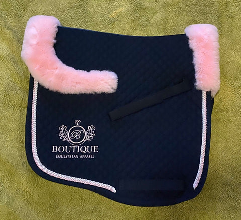 Saddle Pad - Navy with Pink