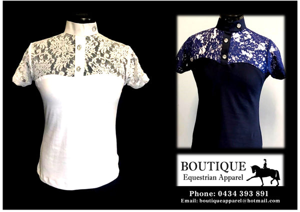 "BEA -  ""Lace Short Sleeve Shirt with Ratcatcher Collar"" -  Navy, White & Cream"