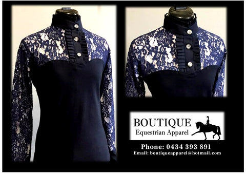 Lace Long Sleeve Frill Shirt - Navy