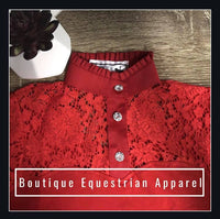 "BEA ""Lace Short Sleeve Frill Shirt"" - Red"