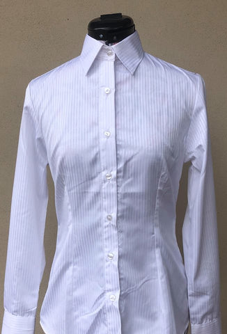 Long Sleeve Show Shirt with Standard Collar - White Pinstripe