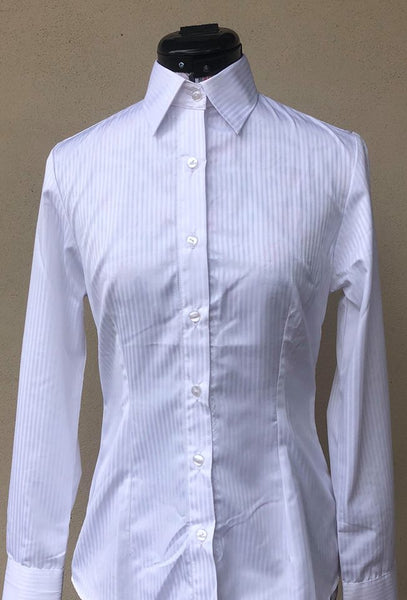 "BEA ""Long Sleeve Show Shirt with Standard Collar"" - White Pinstripe"