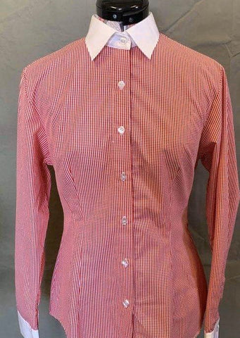 Red Check Long Sleeve Show Shirt with Standard Collar
