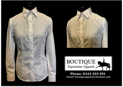 Long Sleeve Show Shirt with Standard Collar - White