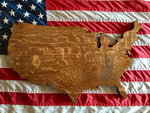 wooden america map
