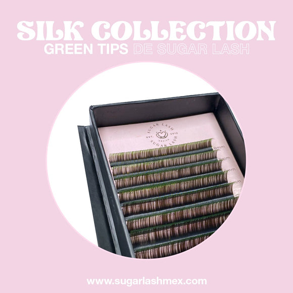 Sugar Lash Silk color collection two-tone mix 'Negro con puntas verdes'