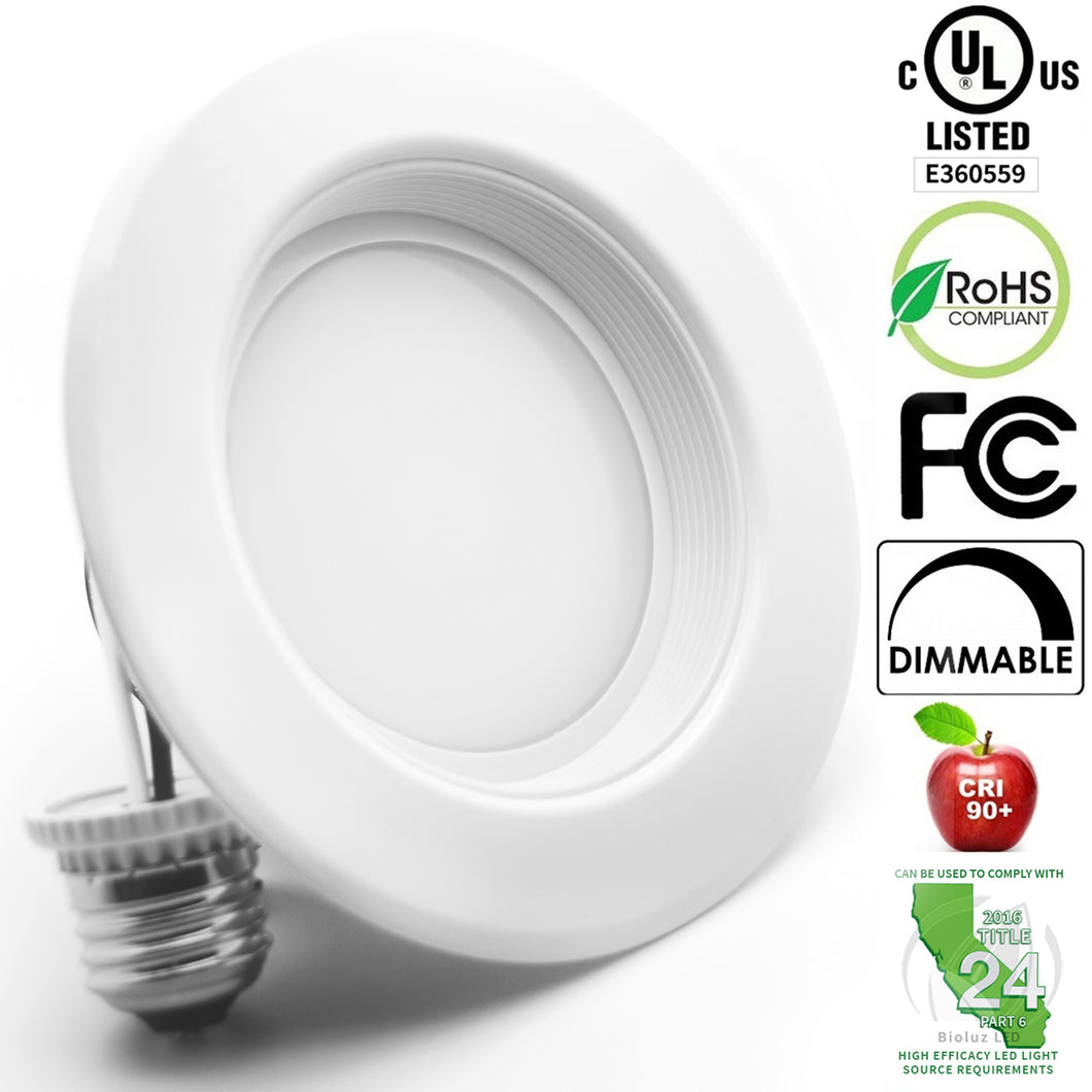4 Inch LED Recessed Light Fixtures 90 CRI Dimmable UL-Listed CEC JA8 Title 24