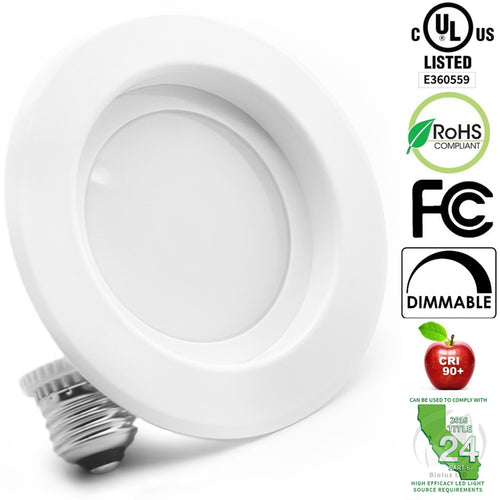 4-Inch LED Retrofit Recessed Light Fixtures, 90 CRI, Dimmable, UL-Listed CEC JA8 Title 24 Compliant