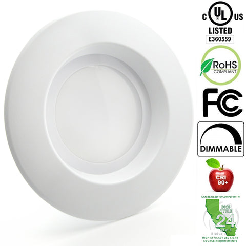 "5"" / 6"" LED Retrofit Recessed Light Fixtures 90 CRI, Dimmable, UL-Listed CEC JA8 Title 24 Compliant"