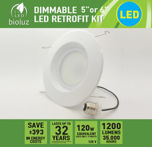 "5"" and 6"" LED Retrofit Recessed Lighting Fixtures (120 Watt Replacement, 1200 Lumens)"