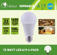 Bioluz LED 100W Dimmable LED Light Bulbs 1600 Lumen 3000K or 4000K 100W A19