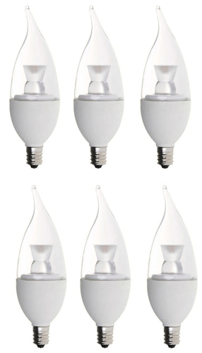 Bioluz LED Candelabra C37 Flame Tip LED Candle Bulbs