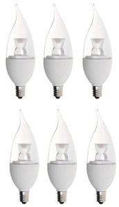 Bioluz LED Dimmable 40 Watt Candelabra Bulbs, Flame Tip LED (Uses only 5 watts), C37 LED Candle Bulbs, 2700K Warm White, UL Listed, E12 Base