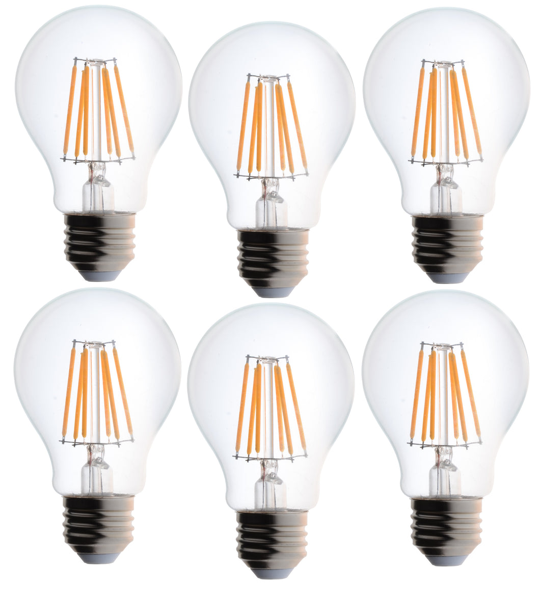 Bioluz LED Dimmable 60W Clear Edison Style Filament LED, A19 Light Bulb, Warm White 2700K, UL Listed
