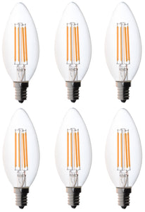 Bioluz LED Non-Dimmable 40 Watt Candelabra Bulbs, Filament LED (Uses only 4 watts), C37 LED Filament Bulbs, 2700K Warm White, UL Listed, E12 Base