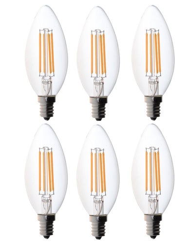 Bioluz LED 60W Candelabra Dimmable Filament LED 2700K Warm White E12 Base