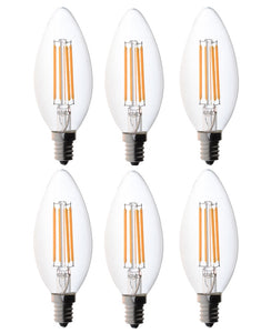 Bioluz LED Dimmable 60W Candelabra Bulbs Filament LED 2700K Warm White E12 Base