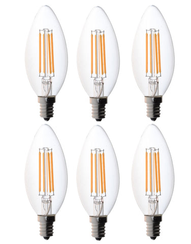 Bioluz LED Dimmable 60 Watt Candelabra Bulbs, Filament LED (Uses only 4.5 watts), C37 LED Bulbs, 2700K Warm White, UL Listed, E12 Base