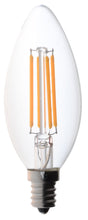 Bioluz LED Non-Dimmable 40 Watt Candelabra Filament LED C37 2700K Warm White E12 Base