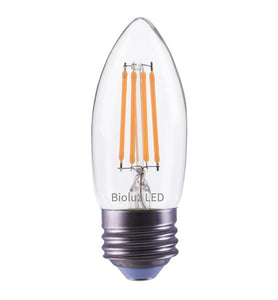 Bioluz LED Candelabra Bulbs, C37 LED Filament Bullet Top Bulbs