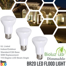 Bioluz LED BR20 LED Bulbs 50 Watt Replacement Indoor Outdoor Dimmable LED Lamp