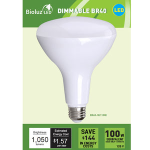 Bioluz LED BR40 LED Bulbs, 80W, 100W and 120W Replacement Dimmable Flood Light Bulbs Outdoor / Indoor UL Listed