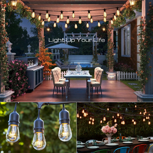 Bioluz LED String Lights, 48ft Weatherproof, 15 Edison Bulbs, Connectable Strands
