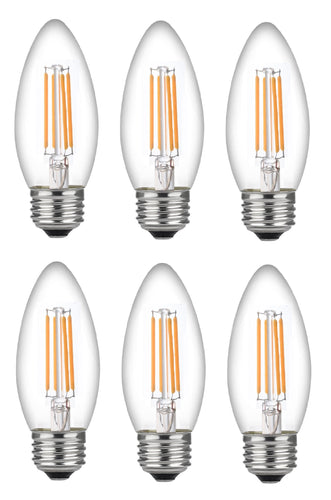 Bioluz LED Candelabra Bulbs, C37 LED Filament Bulbs