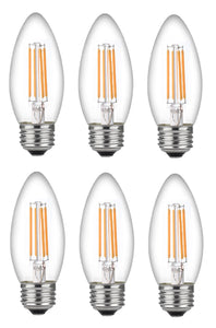 Bioluz LED Dimmable 60 Watt Candelabra Bulbs, Filament LED (Uses only 4.5 watts), C37 LED Filament Bulbs, 2700K Warm White, UL Listed, E26 Base