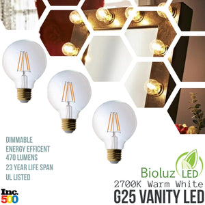 Bioluz LED G25 Vanity Filament Globe LED