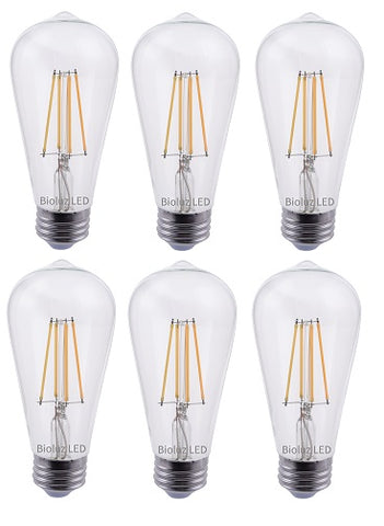 Bioluz LED 60W ST64 LED Bulb, Dimmable Vintage Edison Antique Filament LED Squirrel Cage, UL Listed