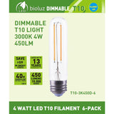 Bioluz LED T10 Dimmable LED Filament Bulb 4W (40W Replacement) 450 lumens Soft White 3000K, UL Listed