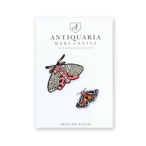 Antiquaria - Moths Embroidered Patch, set of two